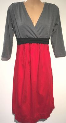 GREY/RED JERSEY WRAP CHEST COTTON SKIRT DRESS SIZE 12